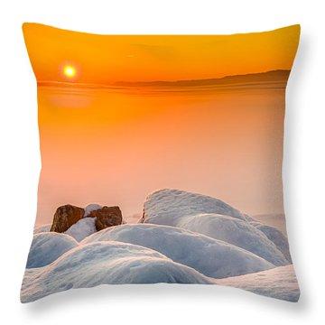 Lake Pepin Winter Sunrise Throw Pillow by Mark Goodman