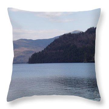 Lake Placid Mountains Throw Pillow by John Telfer