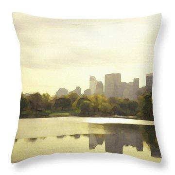 Throw Pillow featuring the digital art Lake Reflection Skyline 3 by David Klaboe