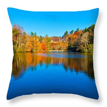 Throw Pillow featuring the photograph Lake Reflections by Alex Grichenko