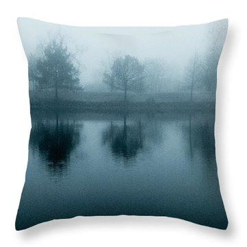 Lake Reflections In Blue Throw Pillow