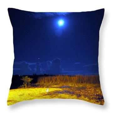 Moonrise Over Rochelle - Portrait Throw Pillow