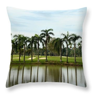 Lake Sand Traps Palm Trees And Golf Course Singapore Throw Pillow