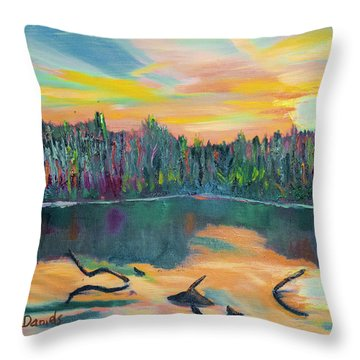 Lake Schwartzwood Sunset Throw Pillow
