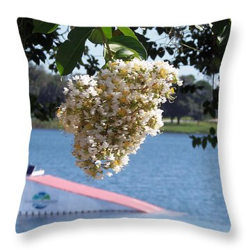 Throw Pillow featuring the photograph Lake Silver Tree Flowers by Chris Mercer