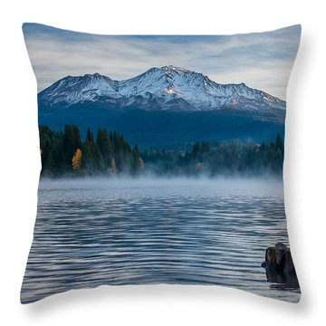 Lake Siskiyou Morning Throw Pillow