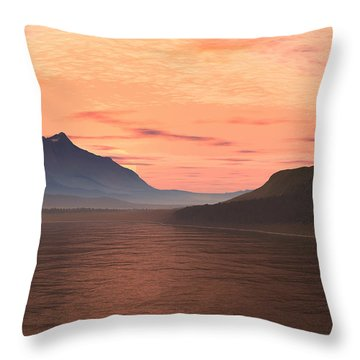 Throw Pillow featuring the digital art Lake Sunset 1 by Judi Suni Hall