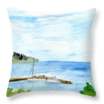 Lake Superior Marina Throw Pillow by R Kyllo