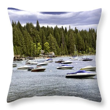 Lake Tahoe Boats Throw Pillow