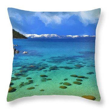 Lake Tahoe Cove Throw Pillow by Dominic Piperata