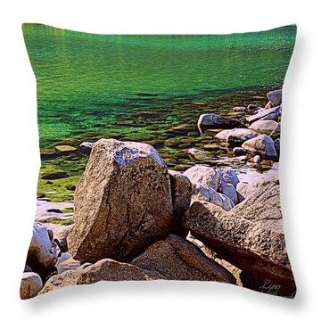Lake Tahoe Green Throw Pillow