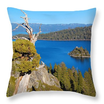 Lake Tahoe Reaching Tree Throw Pillow