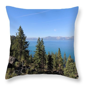 Lake Tahoe Through The Trees Throw Pillow
