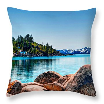 Lake Tahoe Winter Calm Throw Pillow by William Havle