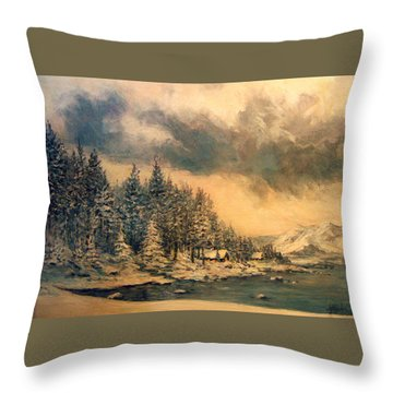 Throw Pillow featuring the painting Lake Tahoe Winter Colors 2 by Donna Tucker