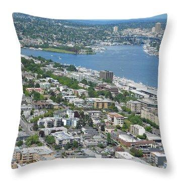 Lake Union Panorama Throw Pillow