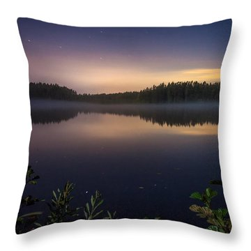 Lake View At Night Throw Pillow