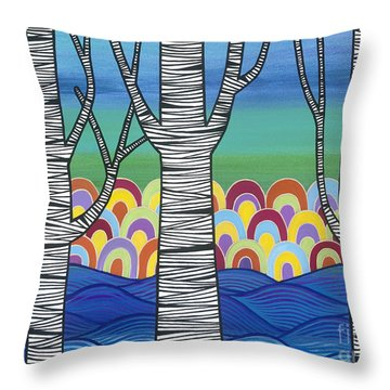 Throw Pillow featuring the painting Lake View by Carla Bank