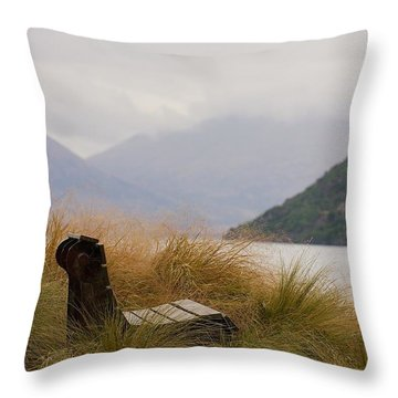 Throw Pillow featuring the photograph Lake Wakatipu Bench by Stuart Litoff