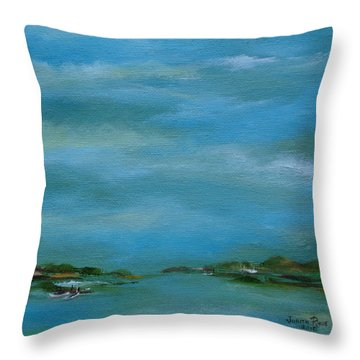 Throw Pillow featuring the painting Lake Wallenpaupack Early Morning by Judith Rhue