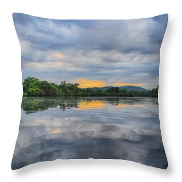 Lake Wausau Summer Sunset Panoramic Throw Pillow