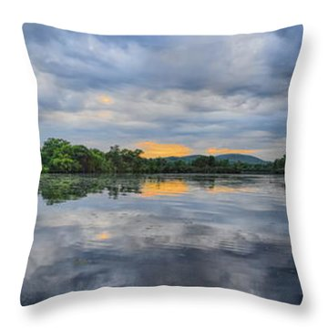 Lake Wausau Summer Sunset Panoramic Throw Pillow