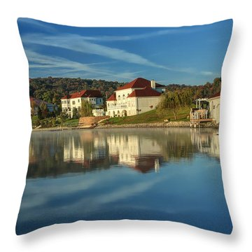 Lake White Morning Throw Pillow by Jaki Miller