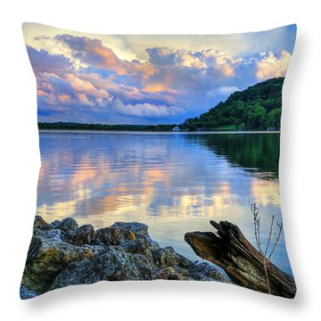 Lake White Sundown Throw Pillow by Jaki Miller