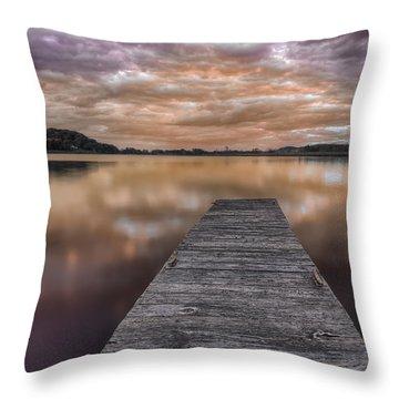 Lake White Twilight Throw Pillow