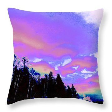 Winter  Snow Sky  Throw Pillow by Expressionistart studio Priscilla Batzell