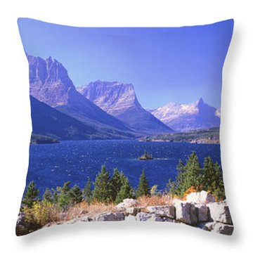 Lake With Mountain Range Throw Pillow by Panoramic Images