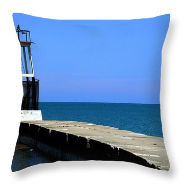 Lakefront Pier Tower Throw Pillow