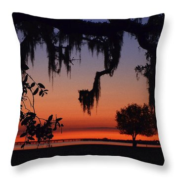 Lakefront Sunset Throw Pillow