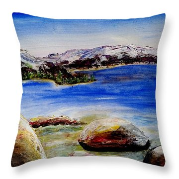 Lakeshore Boulders Throw Pillow
