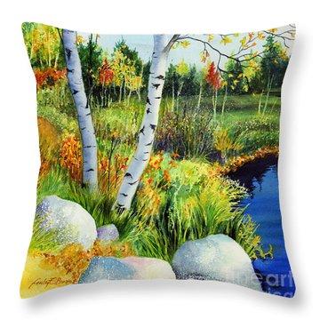 Lakeside Birches Throw Pillow