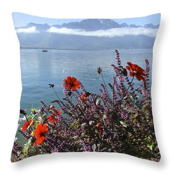 Lakeside Flower Beds Throw Pillow by Colleen Williams