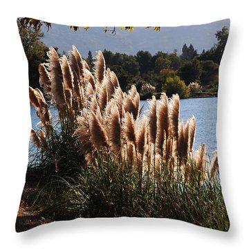 Lakeside In Early Autumn Throw Pillow