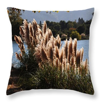 Lakeside In Early Autumn Throw Pillow
