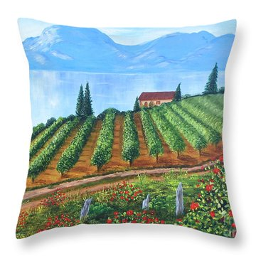 Lakeside Vineyard Throw Pillow