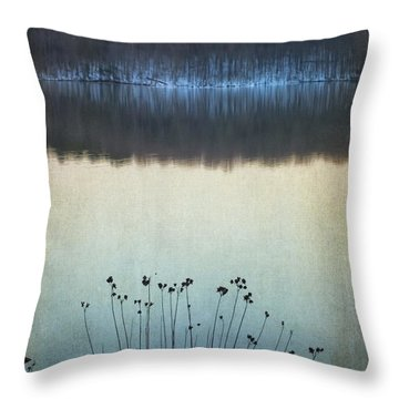 Lakeside Winter Flowers Throw Pillow
