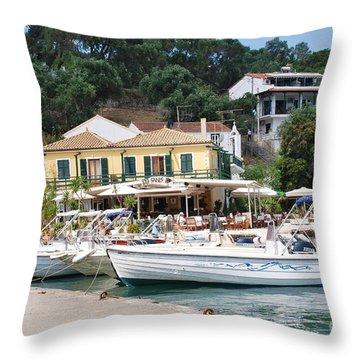 Lakka Harbour On Paxos Throw Pillow