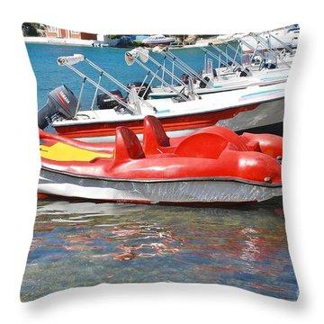Lakka Harbour Paxos Throw Pillow