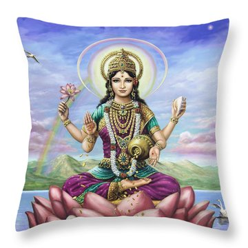 Lakshmi Goddess Of Fortune Throw Pillow