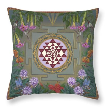 Lalita's Garden Sri Yantra Throw Pillow by Nadean OBrien