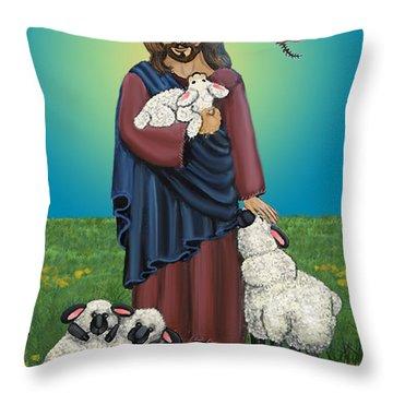 Lamb Of God Throw Pillow by Victoria De Almeida
