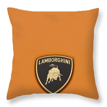 Lambo Hood Ornament Orange Throw Pillow by Scott Campbell