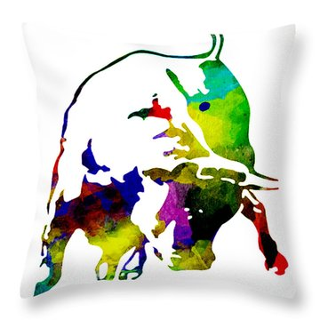 Lamborghini Bull Emblem Colorful Abstract. Throw Pillow by Eti Reid