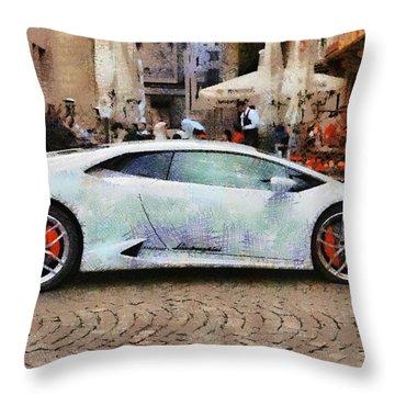 Lamborghini Huracane Lp 610-4 Parked In The City Throw Pillow
