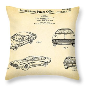 Lamborghini Patent Throw Pillow by Mark Rogan