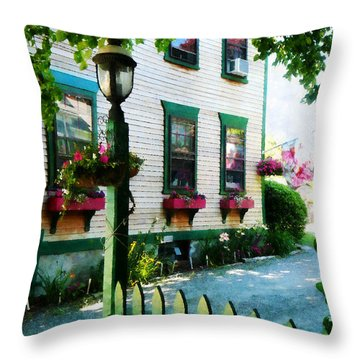 Lamp And Window Boxes Throw Pillow by Susan Savad